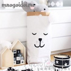 Эко-мешок для игрушек из крафт бумаги Спящая мордочка