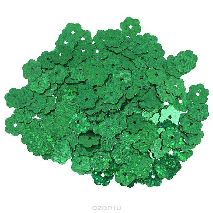 Пайетки Астра (цветочки), с голограммой, зеленые (50104)