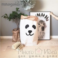 Эко-мешок для игрушек из крафт бумаги Добрый панда