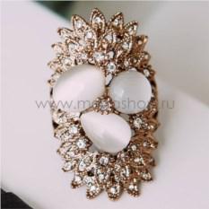 Винтажное кольцо «Гербера» с опалами и кристаллами