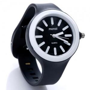 Часы Monol plastic (черно-белые)