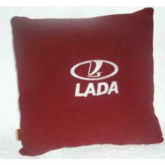 Бордовая подушка с белой вышивкй Lada