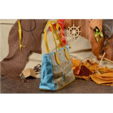 Голубая сумка Leighton Шоппинг