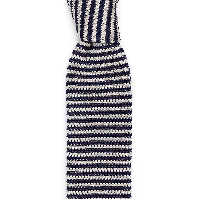 Галстук Sozzi, вязаный шёлк, белый-темно-синий