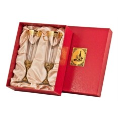 Набор бокалов для шампанского Богемия (цвет: золотой)
