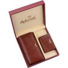Коричневыый кожаный набор Diplomat