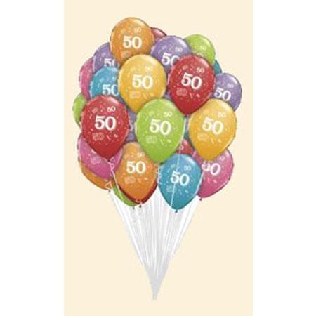 Связка из шаров с рисунком «50 лет»