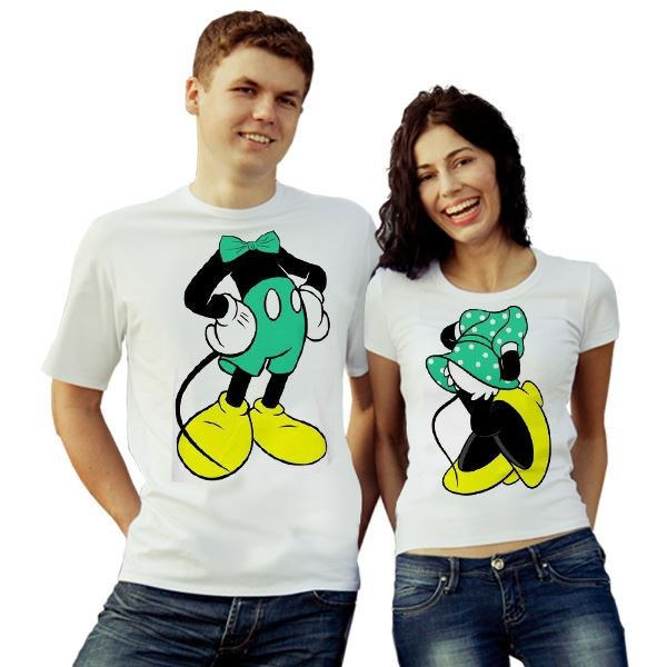 Парные футболки Микки и Минни Маус