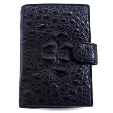 Черное портмоне для автодокументов из кожи головы крокодила