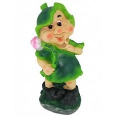 Садовая фигура Гном-девочка с цветком