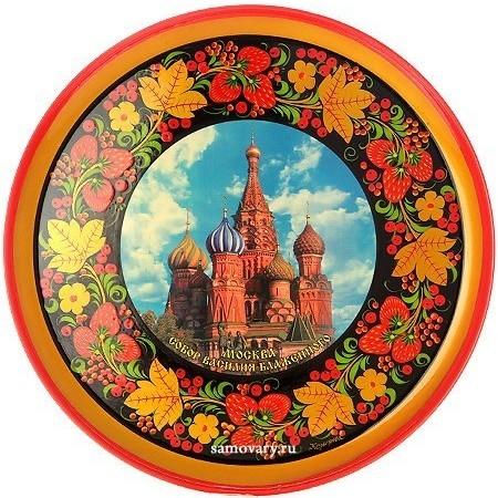 Тарелка-панно с росписью хохлома Собор Василия Блаженного