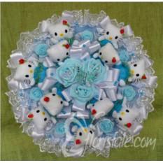 Большой голубой букет из кошечек Hello Kitty