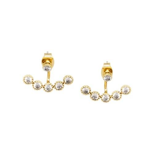 Лаконичные серьги-пусеты золотого цвета с цирконами