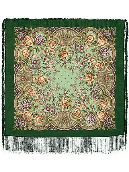 Павлопосадский шерстяной платок с рисунком Кумушка
