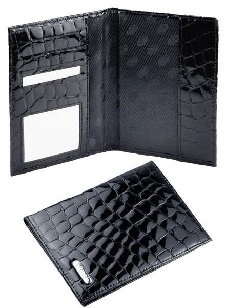 Обложка для паспорта, кожа черная лаковая. S.QUIRE