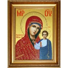 Икона с кристаллами Swarovski Казанская Божья Матерь