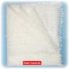 Белый Оренбургский пуховый платок плотной вязки