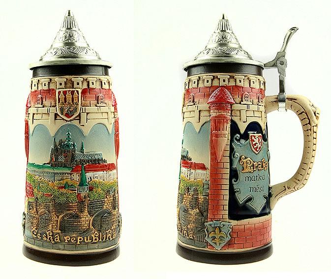 Коллекционная пивная кружка с крышкой Прага