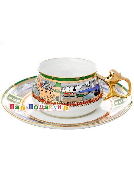 Чайная чашка с блюдцем Деревня на озере