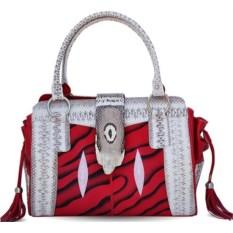 Красно-серая женская сумка из кожи ската, водной змеи, кобры