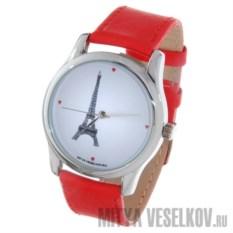 Часы Mitya Veselkov Париж с красным ремешком