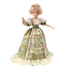Коллекционная кукла Леди Виктория в зелёном с веером