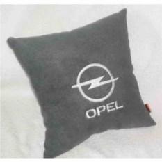 Темно-серая с белой вышивкой подушка Opel