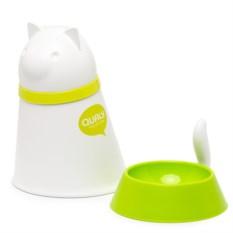 Белый контейнер и миска для кошки Kitt