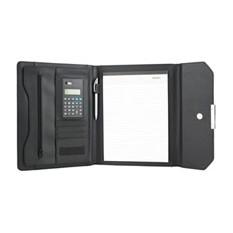Папка для документов с блокнотом и калькулятором, черная