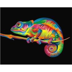 Картина по номерам «Радужный хамелеон»