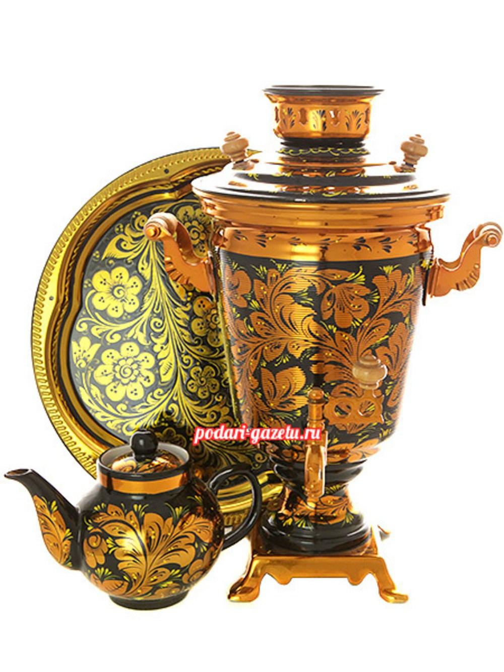 Набор: электрический самовар на 4 литра с художественной росписью Золотая хохлома