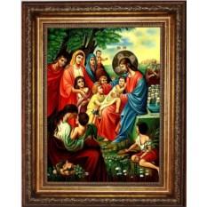 Икона на холсте Иисус Христос Благословляет Детей