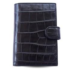 Черное портмоне для автодокументов из кожи живота крокодила