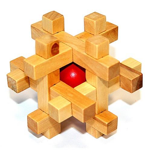 Головоломка деревянная в с шаром внутри (K44)