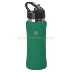 Зеленая прорезиненная спортивная бутыль Индиана