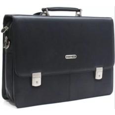 Кожаная черная сумка для ноутбука PortCase HB-1017