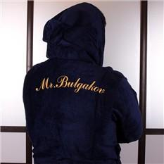 Махровый халат с капюшоном, синий