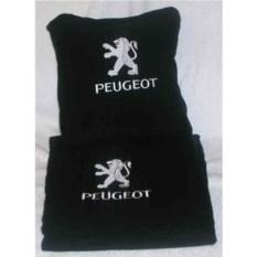 Черный плед с белой вышивкой Peugeot