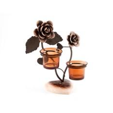 Декоративный подсвечник на 2 свечи Роза