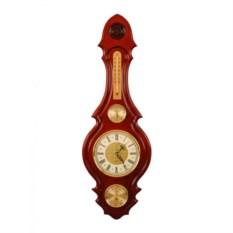 Коричневые настенные часы с барометром