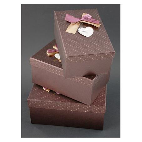 Набор коробок, коричневых с бантом