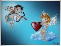 Картина Swarovski Влюбленные ангелочки