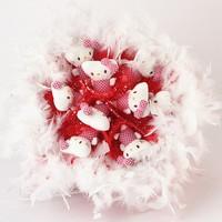 Букет из игрушек Котята с боа в красном