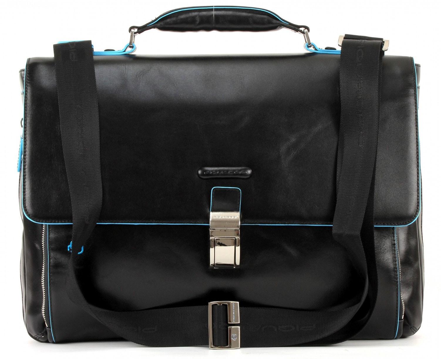 Черный кожаный мужской портфель Piquadro Blue Square