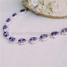 Браслет «Селена» с фиолетовыми циркониями