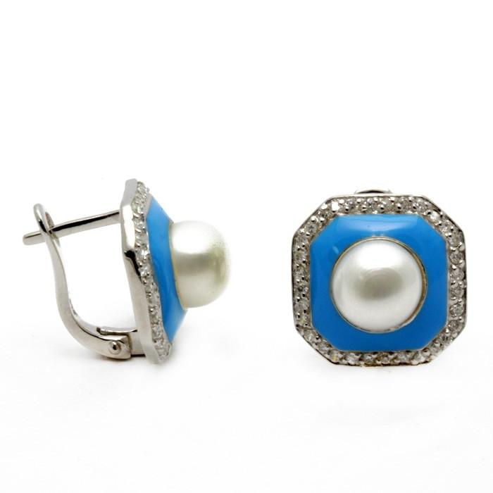 Серьги из серебра с жемчугом, эмалью и цирконом