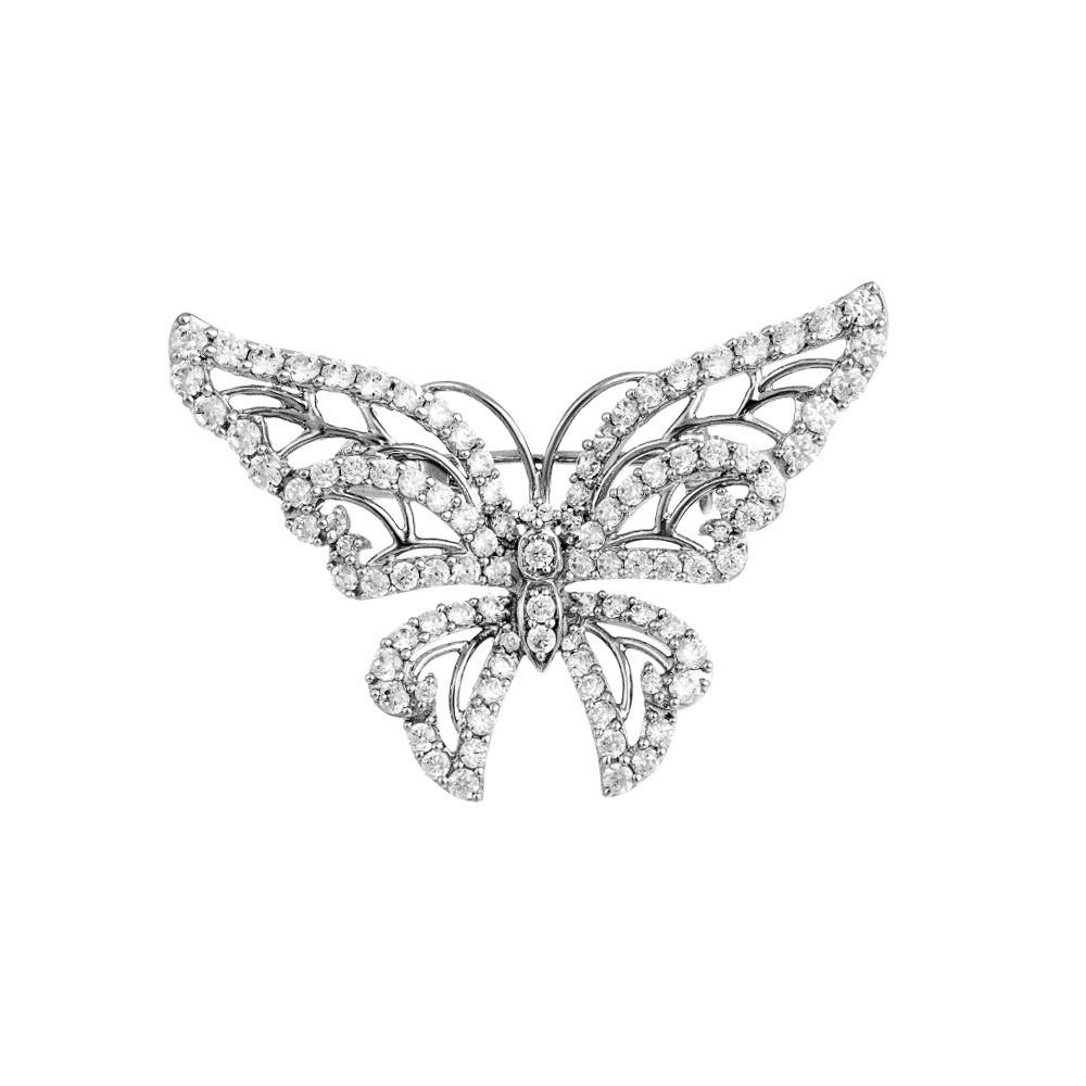 Нежная брошка Бабочка, усыпанная фианитами