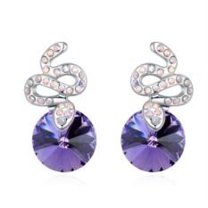 Серьги с фиолетовыми кристаллами Сваровски Змейки
