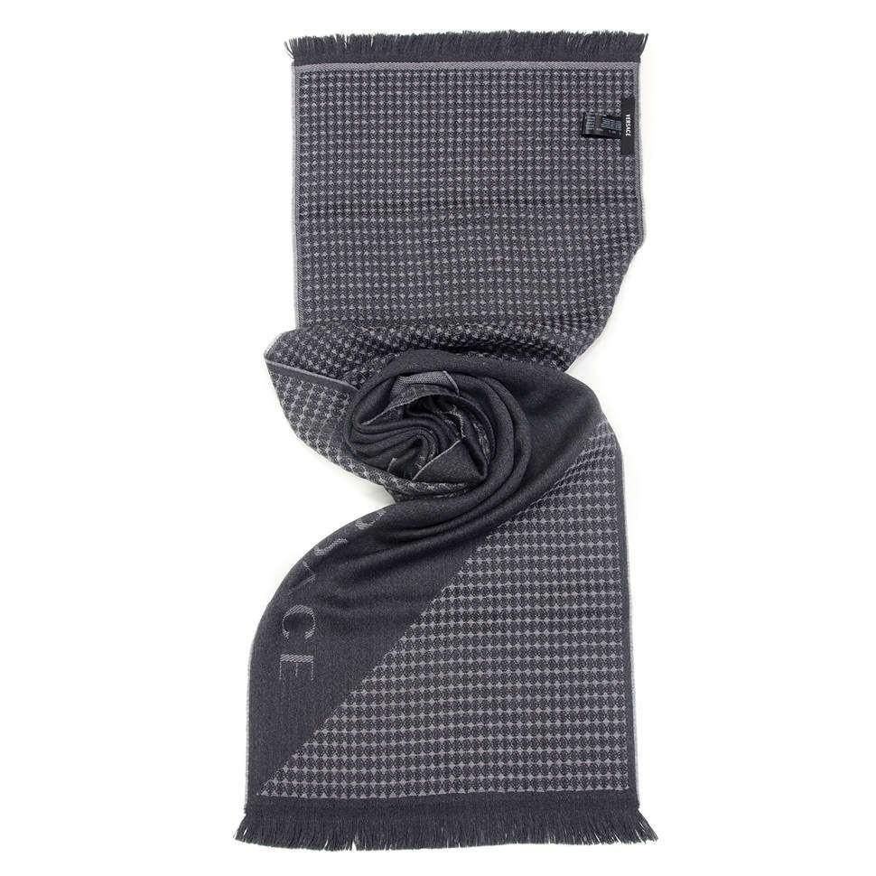 Темно-серый мужской шарф Versace