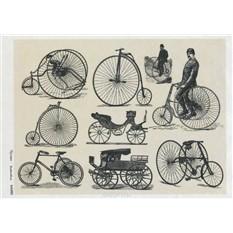 Рисовая карта для декупажа Ретро велосипеды, серо-бежевый